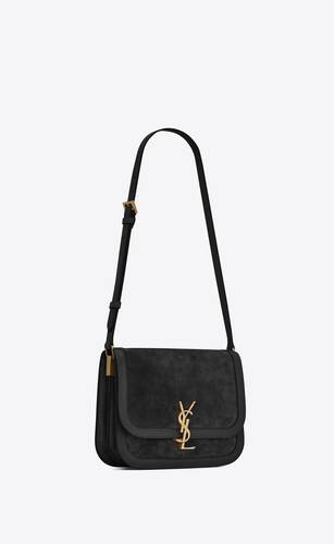 solferino medium soft satchel in suede and smooth leather