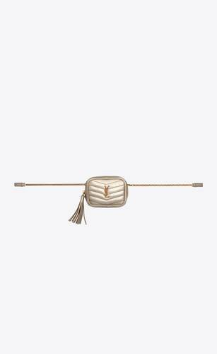 baby lou belt bag in crinkled lamé leather