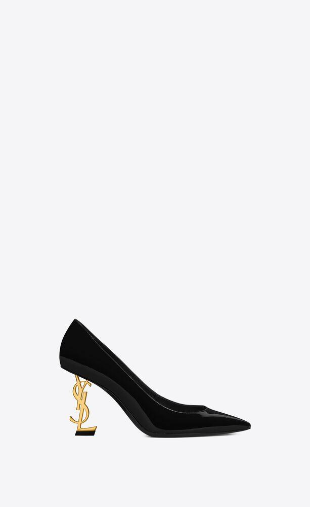 zapatos de salón opyum de charol con tacón dorado