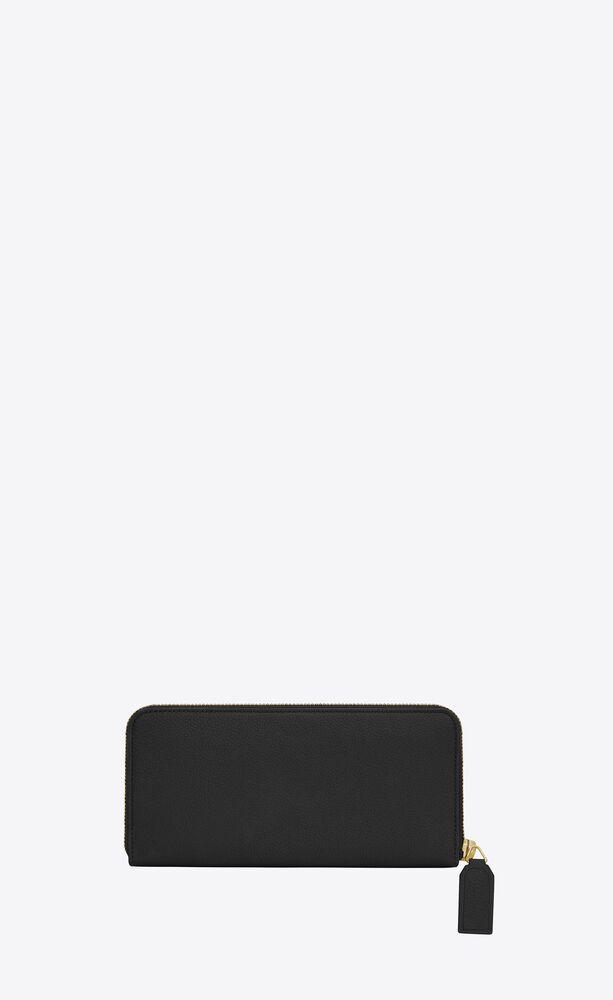 cartera compacta rive gauche con cremallera integral de piel granulada
