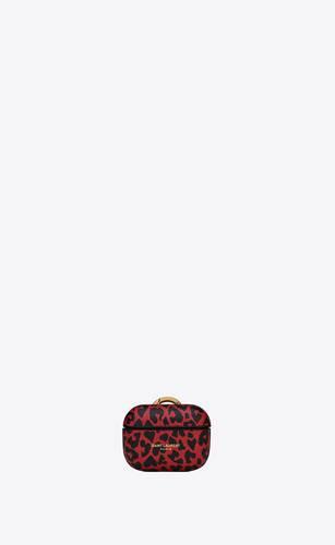 saint laurent paris airpods case cover in heart-shaped leopard-print leather
