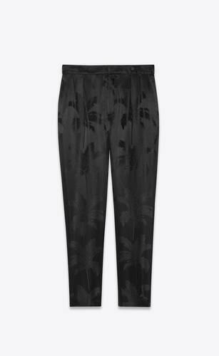 pantalones plisados de jacquard de satén con motivo de palmeras