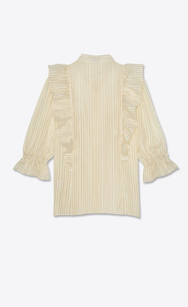frilled blouse in lamé striped silk