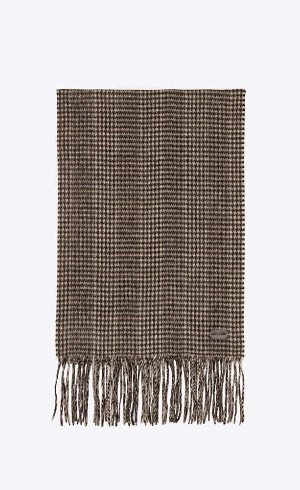 houndstooth knit scarf in cashmere jacquard