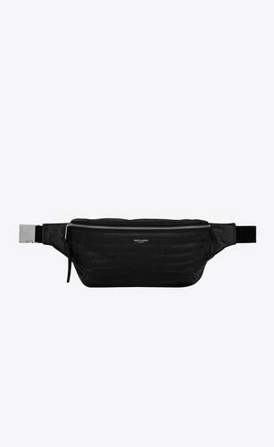 classic belt bag in crocodile-embossed leather