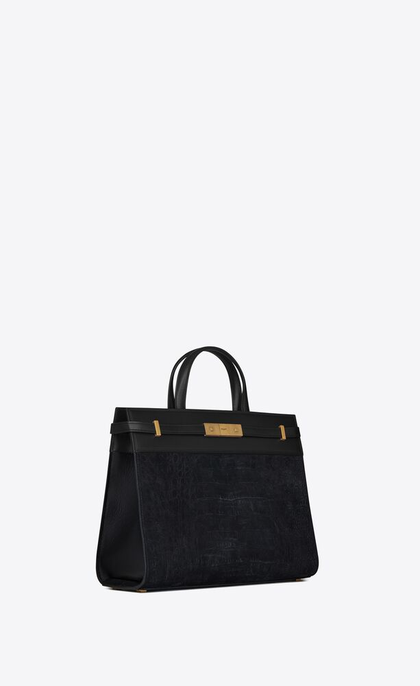 manhattan small shopping bag in crocodile-embossed nubuck and smooth leather