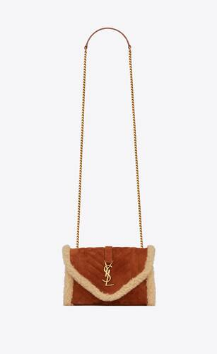 envelope small bag in suede and shearling