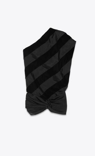 asymmetric one-shoulder dress in faille moirée