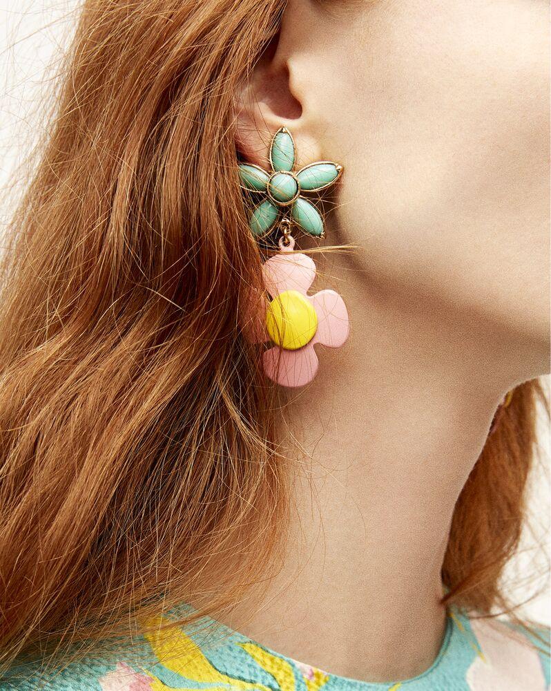 flower pendant earrings in metal, enamel and resin