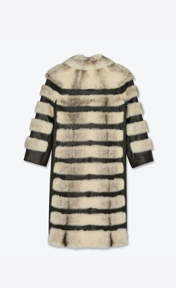 long striped fur coat in mink and lambskin