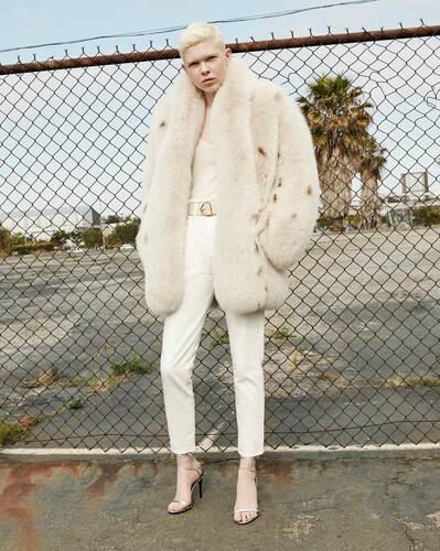 coat in lynx-print fox fur
