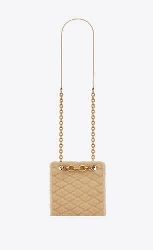 le maillon squared chain bag in merino shearling and lambskin