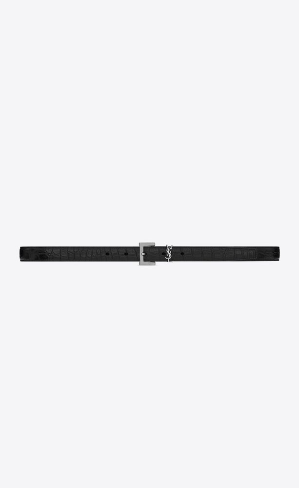 monogram belt with in crocodile-embossed matte leather
