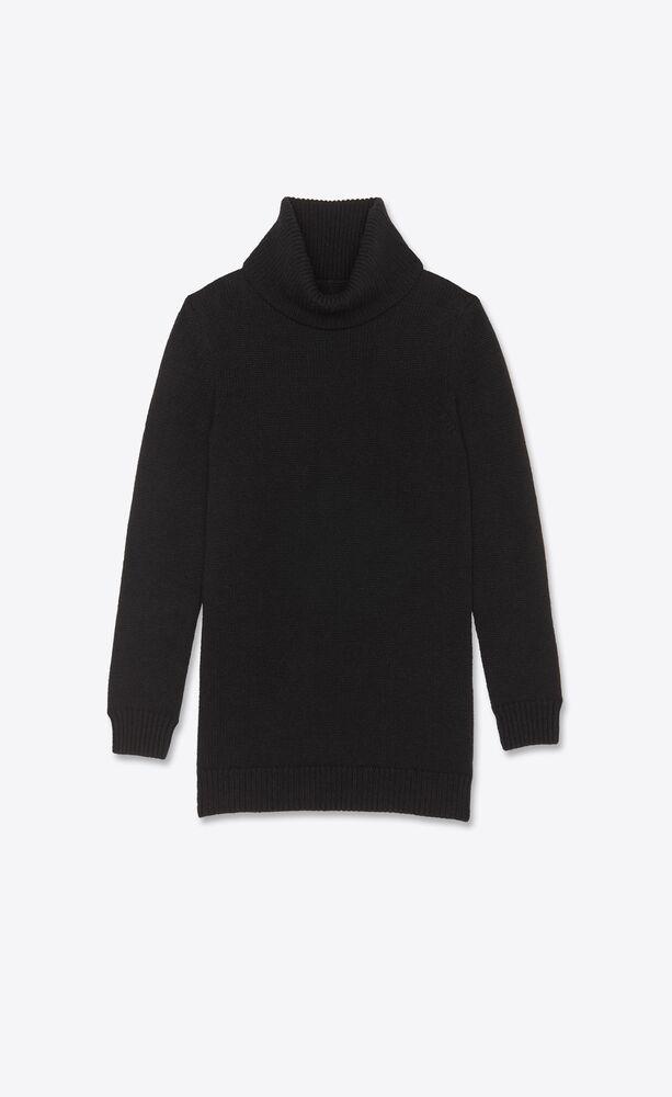 turtleneck knit dress in cashmere saint laurent