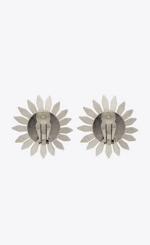 smoking daisy clip-on earrings in metal and crystal