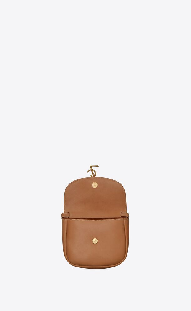 kaia small satchel in cotton canvas and vintage leather