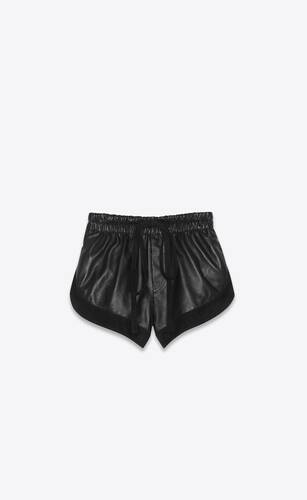 shorts in lambskin and suede
