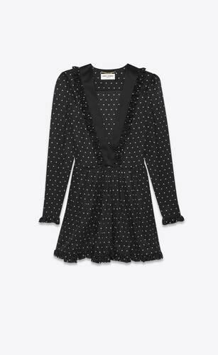 dress in matte and shiny dot-print silk