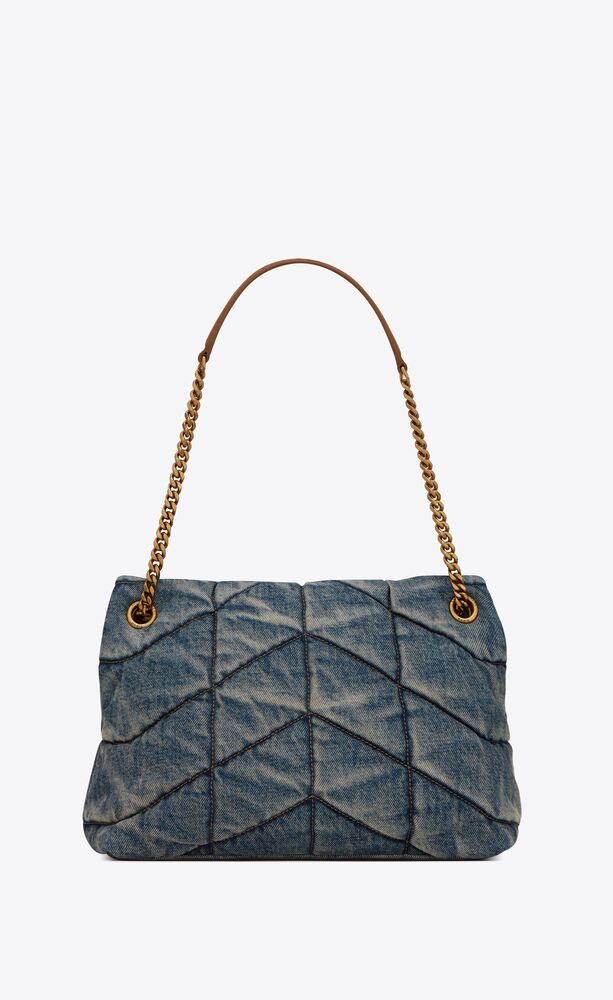 puffer medium bag in vintage denim and suede