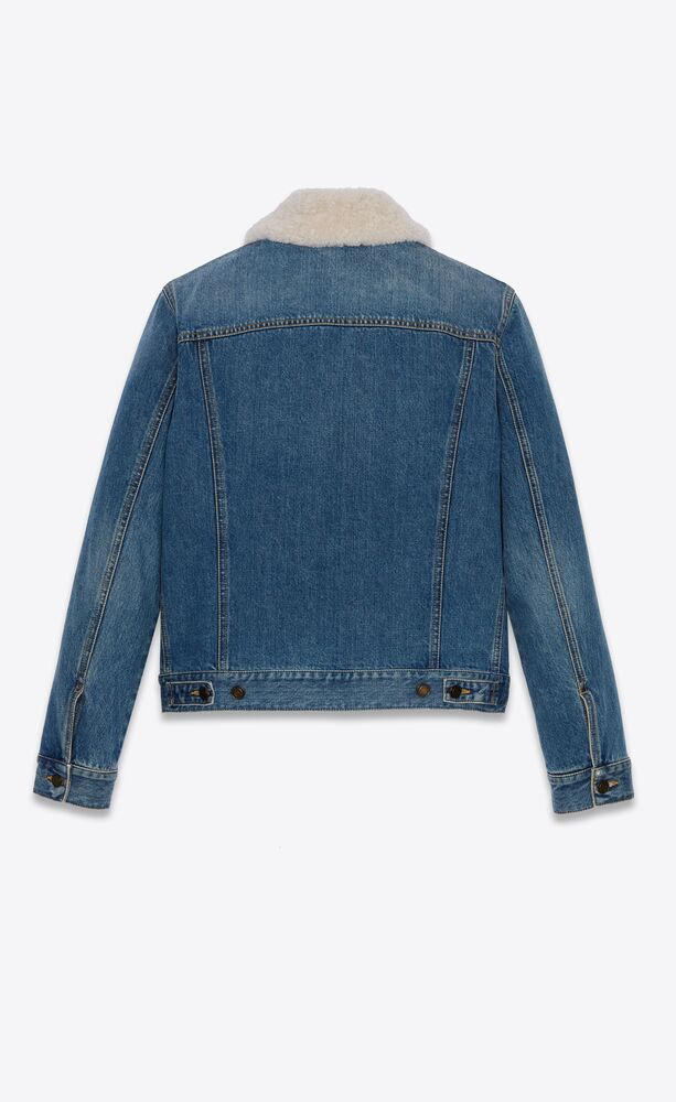 jacket with shearling collar in used 70's blue denim
