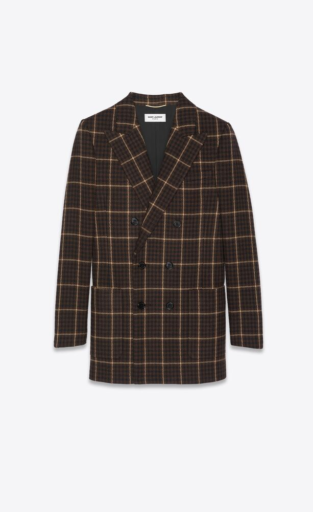 double-breasted jacket in houndstooth wool