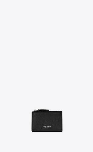 rive gauche tiny zip wallet in grained leather