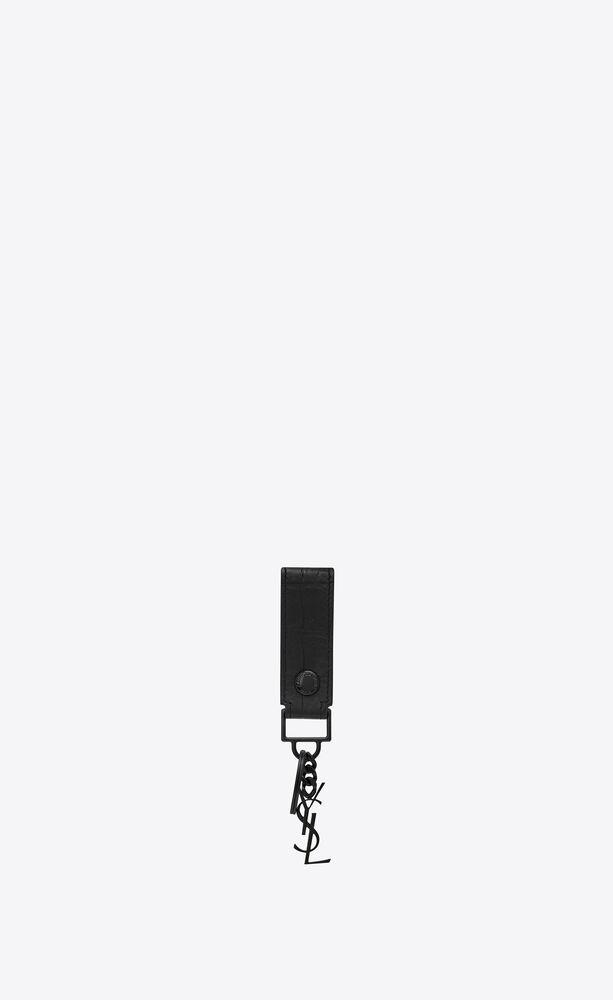 monogram key ring in crocodile embossed leather