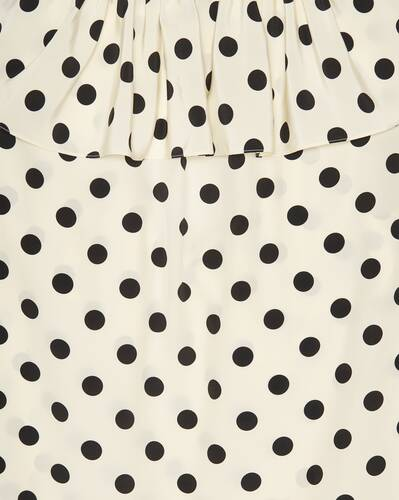 frilled polka-dot blouse in silk crepe de chine