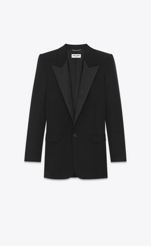 long tuxedo jacket in grain de poudre saint laurent