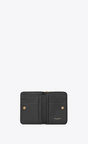 ysl line compact zippered wallet in smooth leather