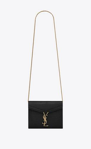 cassandra chain wallet in crocodile-embossed shiny leather