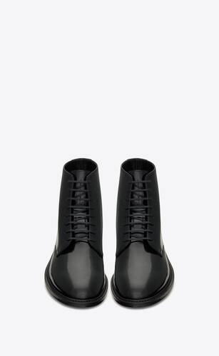 army laced boots in shiny leather