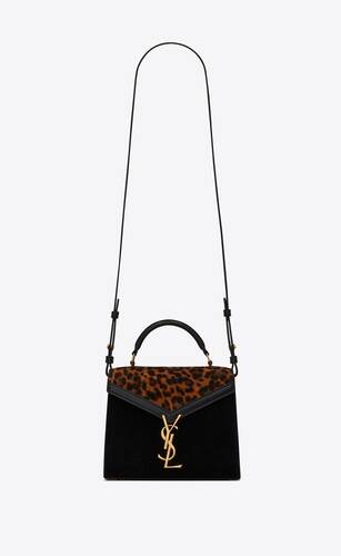cassandra mini top handle bag in leopard-print suede and smooth leather
