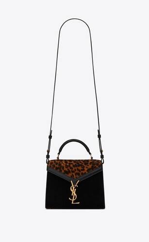 cassandra mini top handle en suède imprimé léopard et en cuir lisse