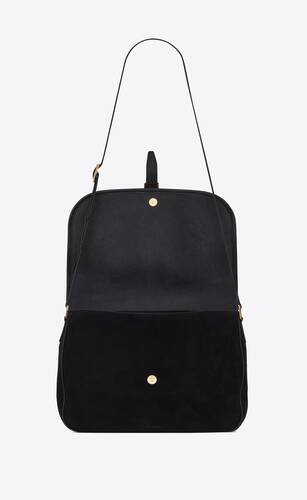 sorbonne flap bag in suede and vintage leather