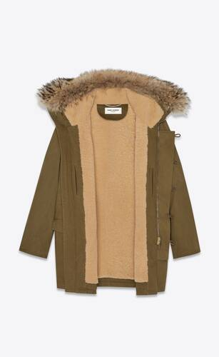 oversized parka in cotton gabardine and raccoon fur