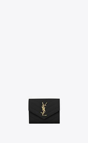 portafogli compatto monogram in pelle a texture e trapuntata nera