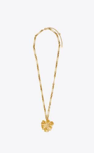 collier long à pendentif fleur d'hibiscus en métal