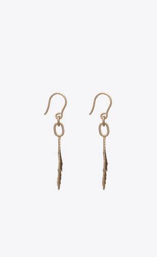 palm leaf drop earrings in metal