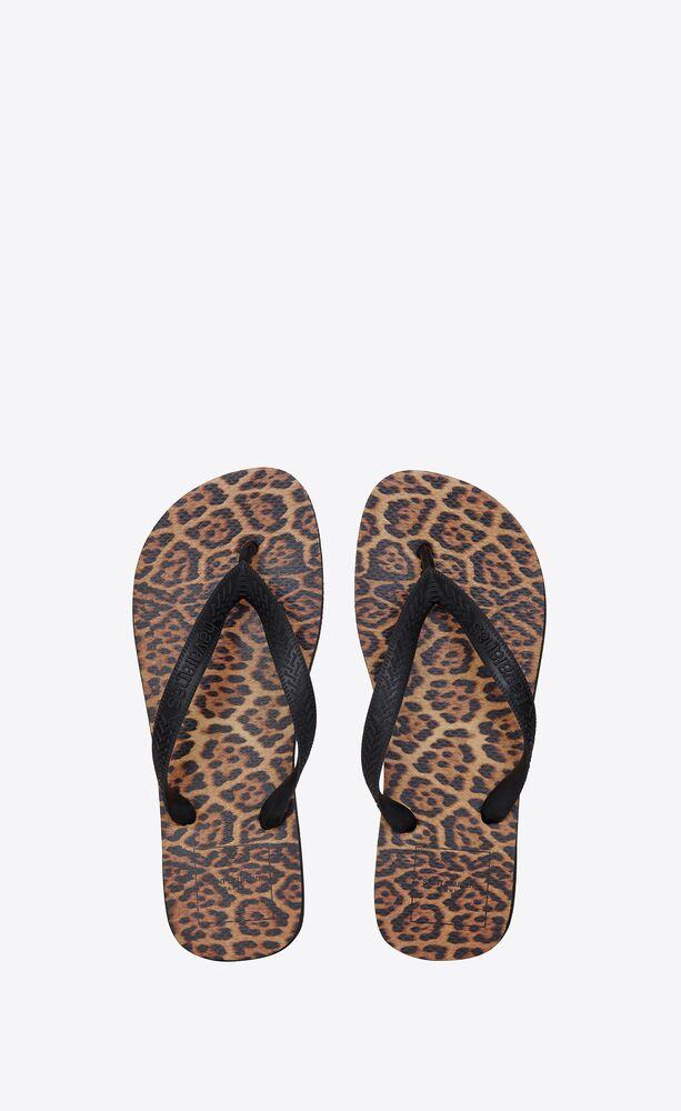 men - havaianas leopard-printed flip flops