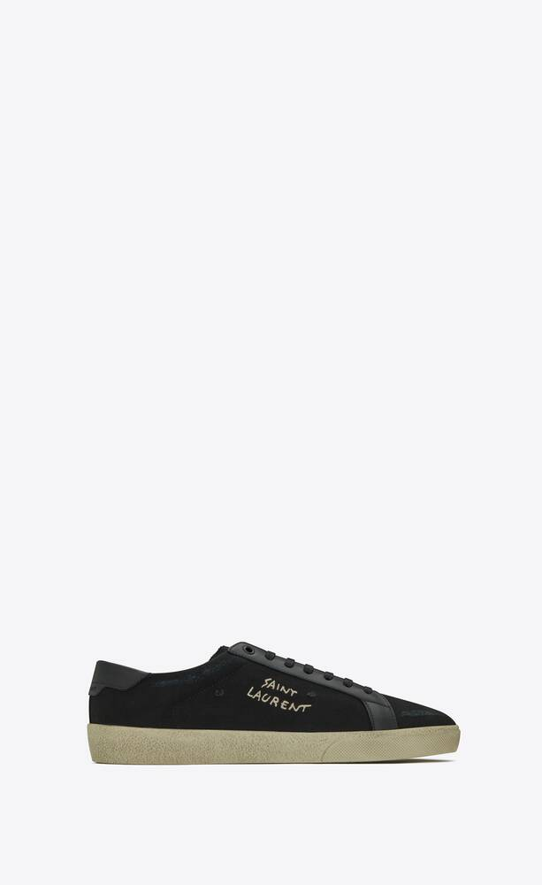 court classic sl/06 embroidered sneakers in canvas and smooth leather