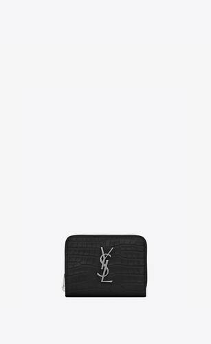 monogram compact zip around wallet in crocodile embossed shiny leather