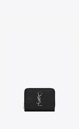 cartera compacta monograma con cremallera integral de piel repujada de cocodrilo brillante