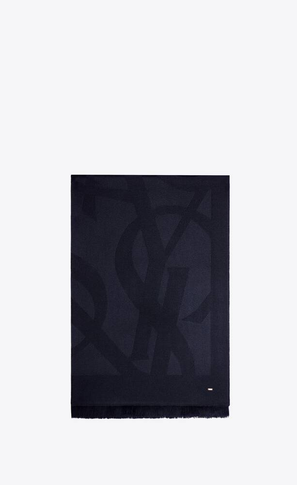 monogram scarf in wool jacquard