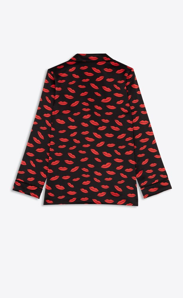 pajama set in lips patterned satin silk