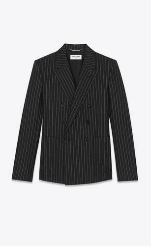 double-breasted tailored jacket in lamé tennis striped wool