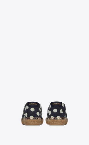 saint laurent embroidered espadrilles in dotted canvas