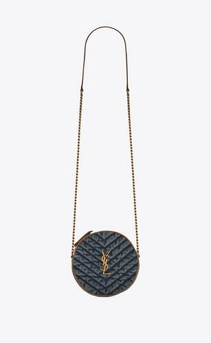 vinyle round camera bag in chevron-quilted denim and suede