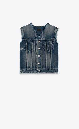 sleeveless jacket in miami blue denim