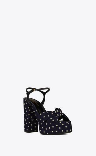 bianca sandals in polka-dot canvas and smooth leather